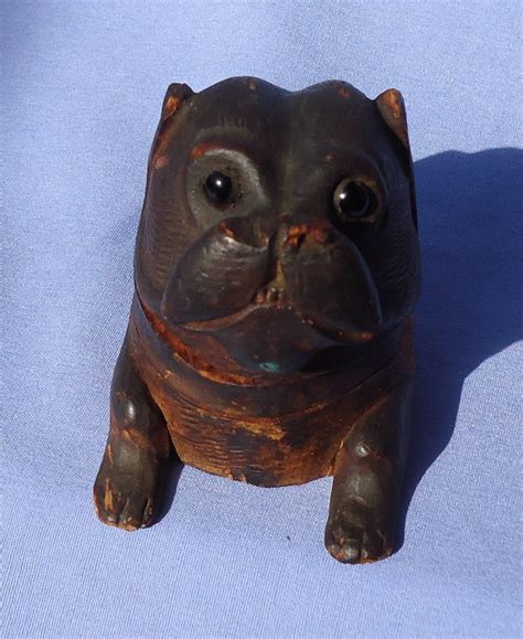 pug wood antique pug carved wood inkwell glass from morninglineantiques on ruby