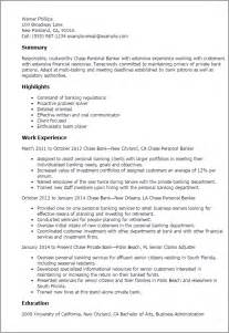 Personal Banker Resume Objective by Professional Personal Banker Templates To Showcase Your Talent Myperfectresume