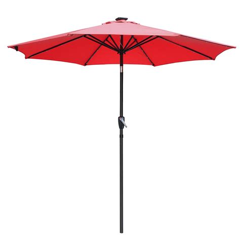 Led Patio Umbrella 9 Patio Solar Umbrella Led Tilt Aluminium Deck Outdoor Garden Parasol Sunshade Ebay