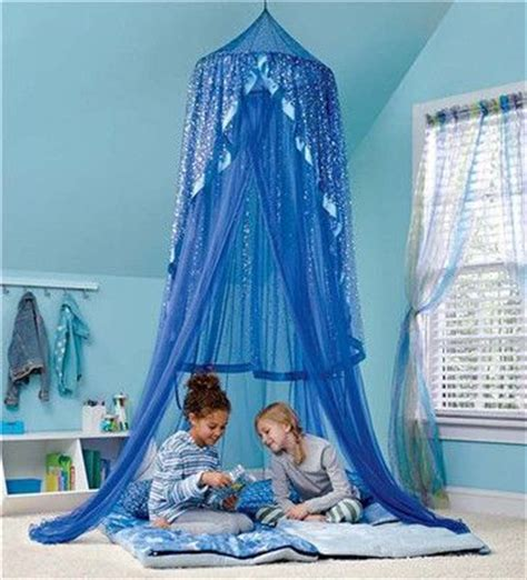 blue bed canopy twinkle stars lighted girls bed room canopy net lit tent