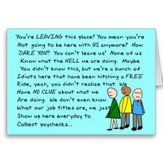 Co worker leaving card http www zazzle com hilarious group co worker