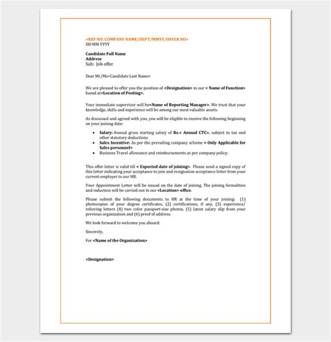 appointment letter employees template employee appointment letter template 10 for word doc