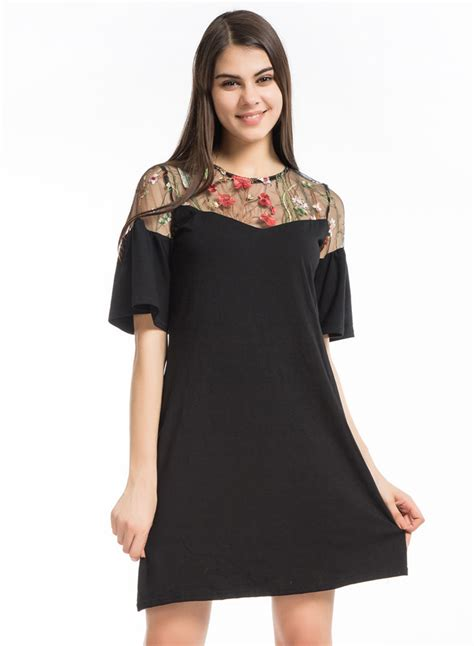 Sleeve A Line Mesh Dress s floral embroidery flare sleeve a line mesh dress