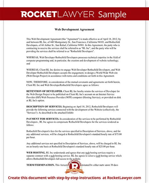 development agreement template website development agreement web development contract