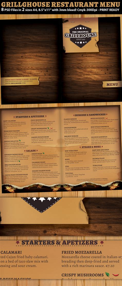 Grill Restaurant Menu Template On Behance Pub Menu Template