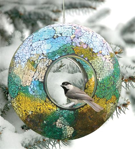 Circular Bird Feeder Circular Bird Feeders Circular Iridescent Crushed Glass