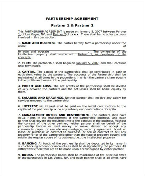 Exle Of A Business Contract by 49 Exles Of Partnership Agreements
