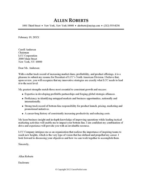 cover letter to resume cover letter exle executive or ceo careerperfect