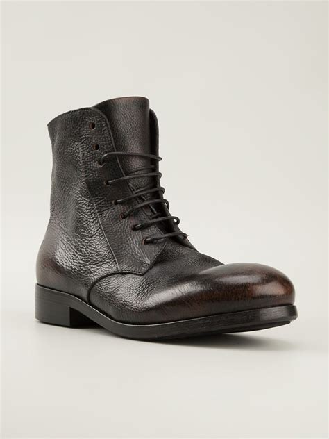 marsell boots mars 232 ll distressed ankle boots in black for lyst