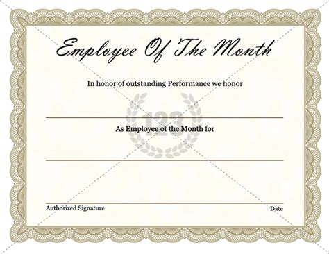 best employee award template free employee of the month certificate exle