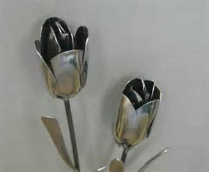 artistic flatware items similar to tulip silverware garden flower art from