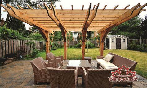 front view of churchville cantilever pergola western