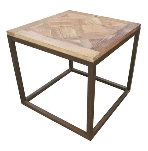 Iron Side Table Gramercy Modern Rustic Reclaimed Parquet Wood Iron Side Table Kathy Kuo Home