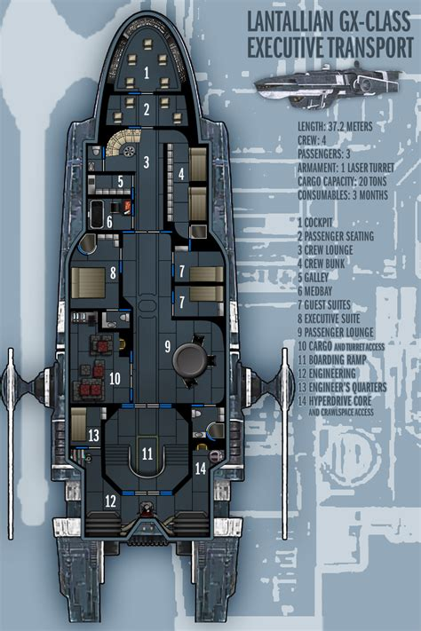 spaceship floor plan lantallian gx class exec transport by boomerangmouth on