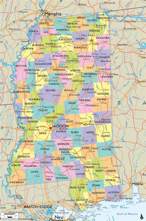 map of ms political map of mississippi ezilon maps