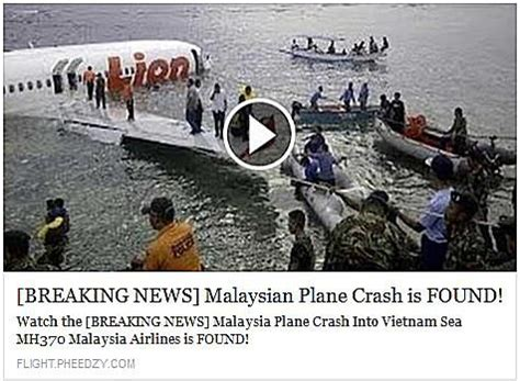 missing malaysia airlines flight 370 scam arrives via scam malaysian plane crash is found video