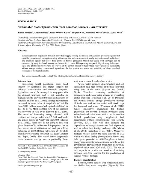 emirates journal of food and agriculture sustainable biofuel production from non food sources an