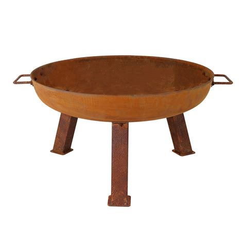 Rustic Fire Pit Bowl Cast Iron Portable Durable Cast Iron Firepit