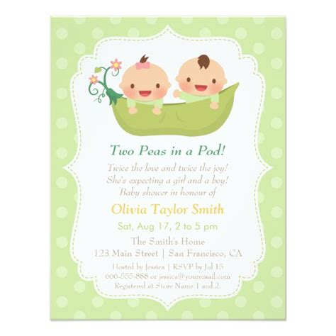 baby shower invitations templates for twins cute peas in a pod twin baby shower invitations zazzle com