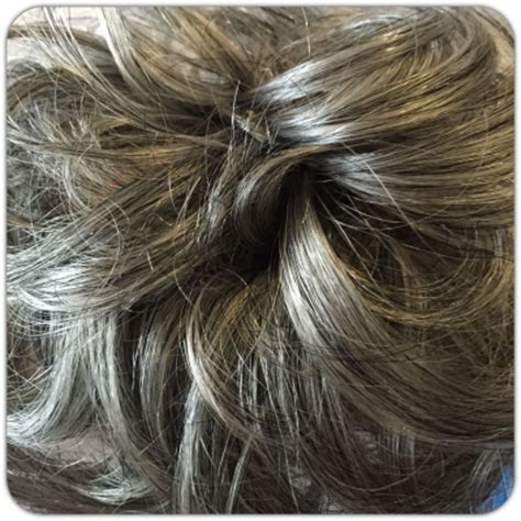 salt and pepper bun grey hair scrunchie hair piece for bun or ponytail salt
