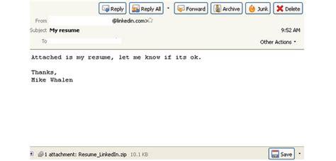 my resume linkedin emails spread malware