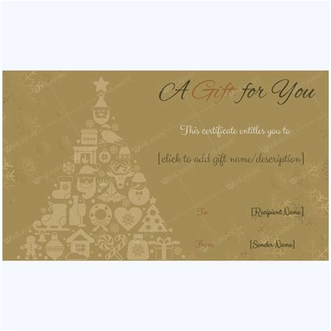 golden trees christmas gift card template word layouts