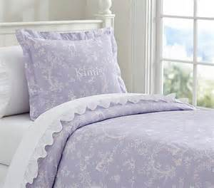 Fairy dreams toile duvet cover full queen lavender pottery barn