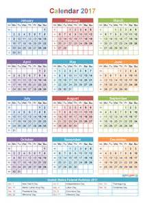 yearly calendar 2017 with holidays printable template