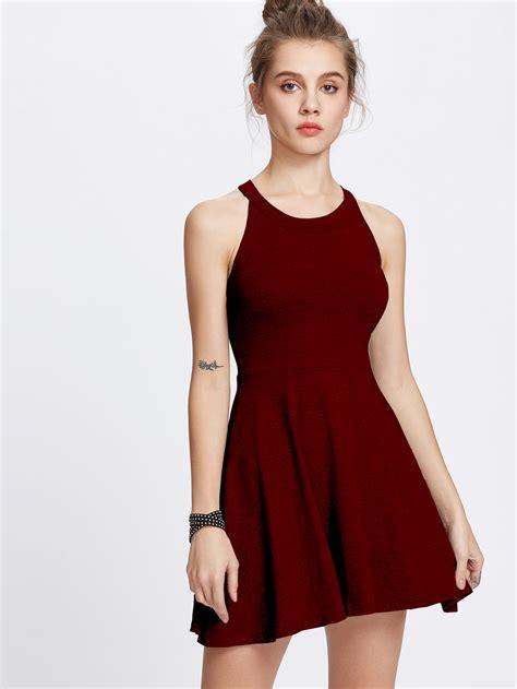 Dress Model A Line halter neck a line dressfor romwe
