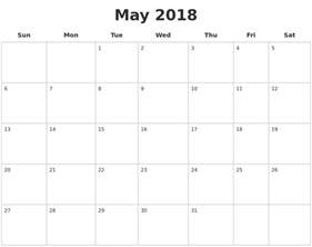 Calendar 2018 Pages May 2018 Blank Calendar Pages