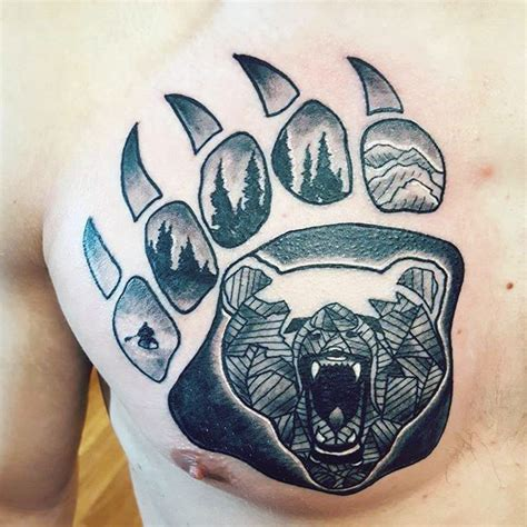 bear print tattoo 100 claw designs for sharp ink ideas