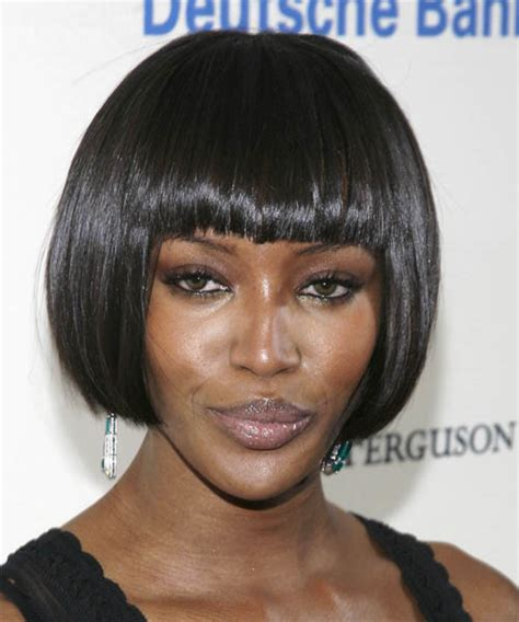 pageboy hair styles for black women naomi cbell short straight casual hairstyle