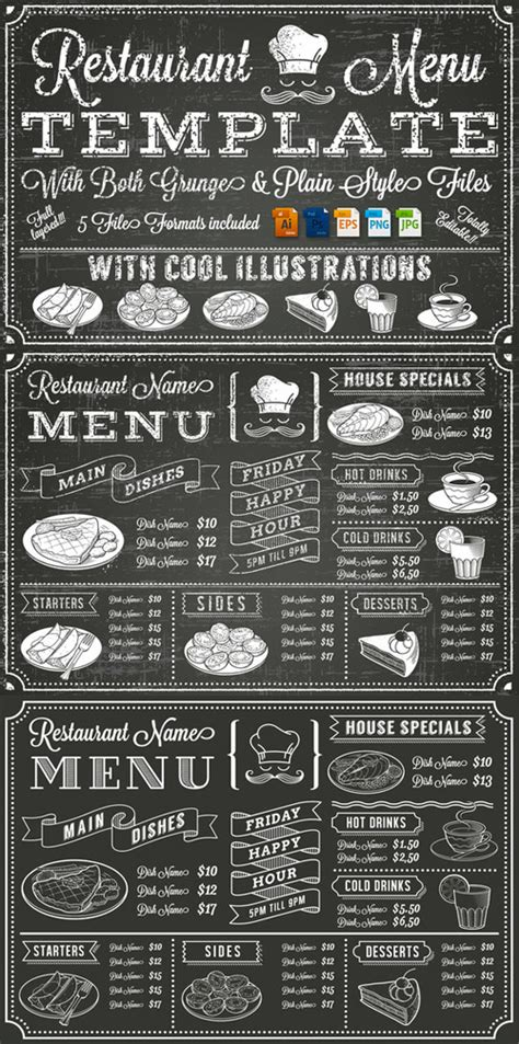 creativemarket vector chalkboard menu template 88570