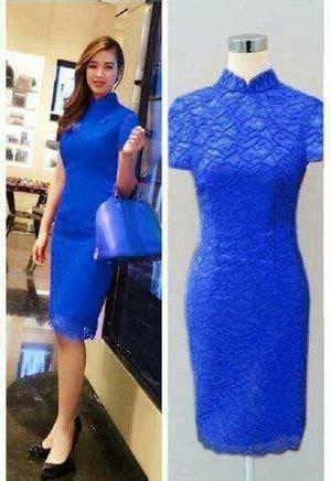 Sale Dress Biru Twiscon Mix Brukat model baju mini dress pendek span fashion wanita bahan brukat cantik terbaru