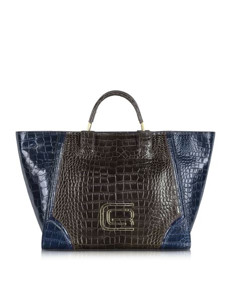 Designer Purse Deal Roberto Cavalli Large Leather Tote roberto cavalli class large croco embossed leather