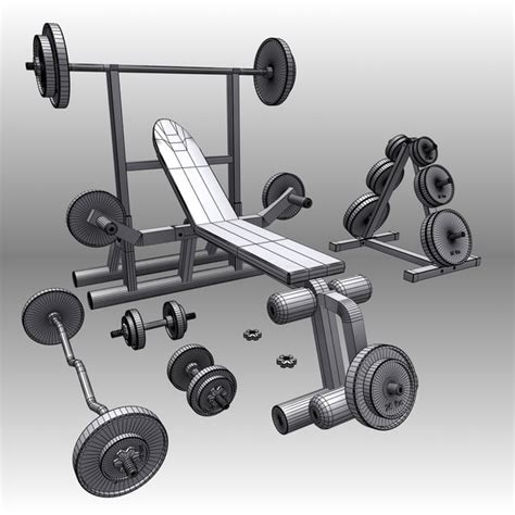 bench press modells 3d realistic exercise machine bench press model