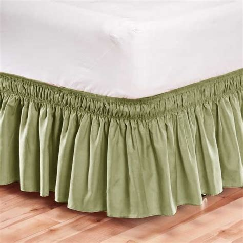 elastic bed skirt dust ruffle easy fit wrap around green color king size ebay