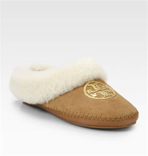 tory burch house shoes tory burch coley suede and shearling slippers in brown tan lyst