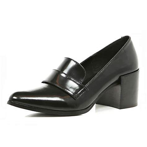 pointed loafers womens black block heel pointed loafers brogues loafers