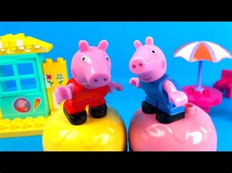 peppa pig table and chairs with umbrella peppa pig shop construction set with george
