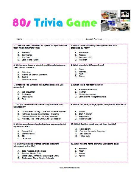 music themes for quiz free printable 80s trivia game 80s parties pinterest