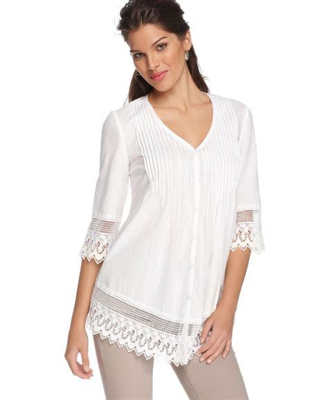 Macy S White Button Blouse by Alfani New White Crochet Trim Pintuck 3 4 Sleeve Button