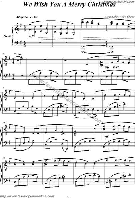 printable christmas   piano merry christmas piano sheet