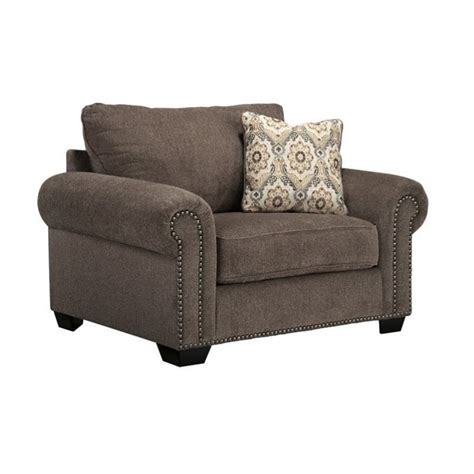 Ashley Emelen Chenille Oversized Accent Chair With Ottoman Oversized Chair Ottoman