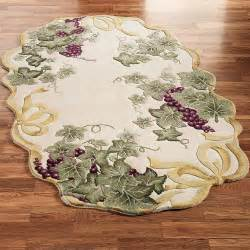 Oval Kitchen Rugs Ribbon And Grapes Oval Area Rugs