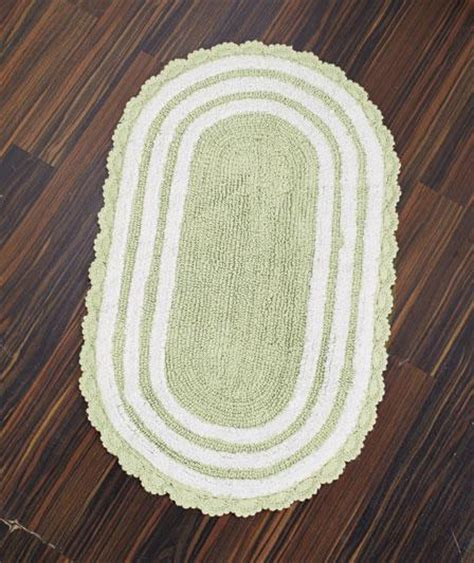 oval cotton bath rugs new reversible luxurious crocheted border oval cotton bath rug 21 quot x 34 quot ebay