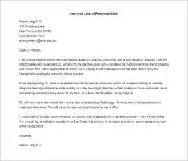 Format Of A Cover Letter For An Internship by 8 Letters Of Recommendation For Internship Free Sle