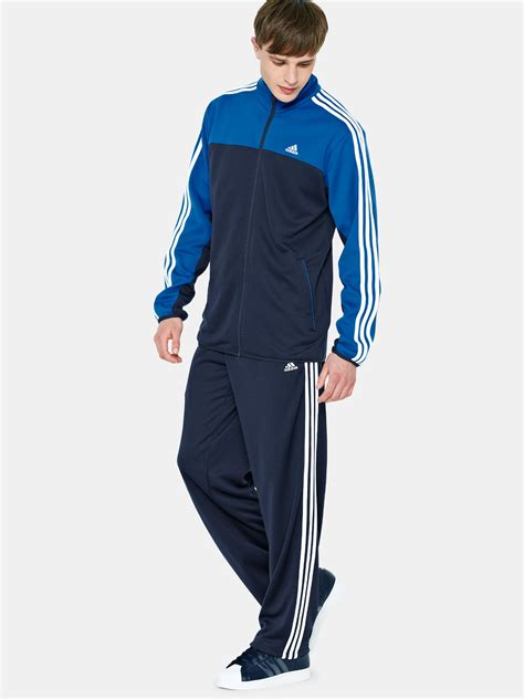 adidas tracksuit adidas 3 stripe iconic mens poly tracksuit in blue for navy blue lyst