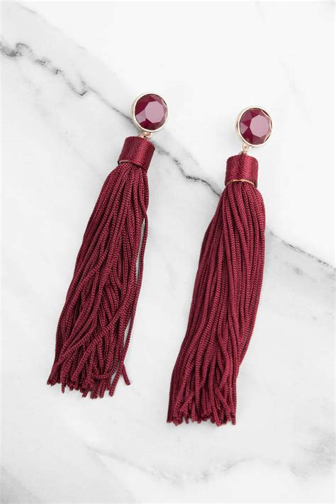delilah burgundy tassel earrings  tobi