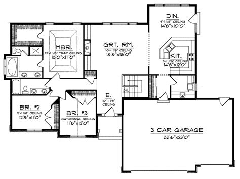 ranch house floor plans open plan ranch style open floor plans with basement house plans